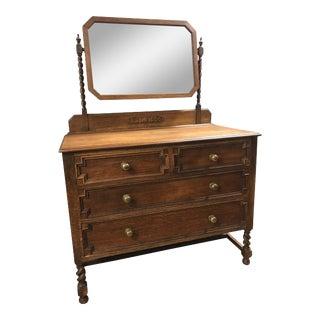 Antique English Oak Dresser With Mirror
