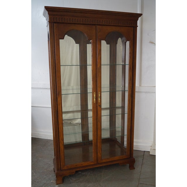 Jasper Traditional Oak Lighted Display Curio Cabinet - Image 2 of 10