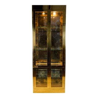 1960s Mastercraft Brass and Glass Lighted Display Cabinet For Sale