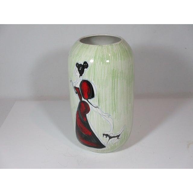 Mid-Century Modern Vintage Italian Hand Painted Vase For Sale - Image 3 of 8