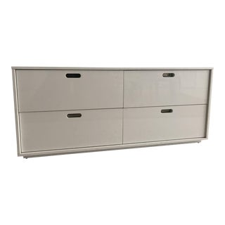 Contemporary CB2 White 4-Drawer Low Dresser For Sale