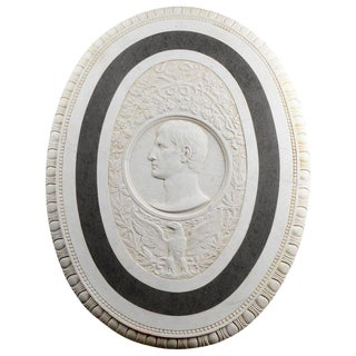 Large 19th Century Oval Marble Relief of the Roman Emperor Claudius With Eagle For Sale