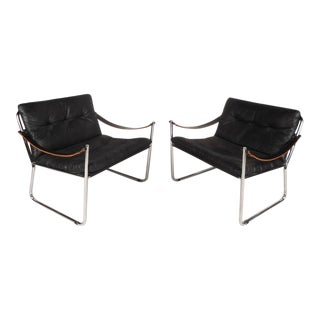 Mid-Century Safari Style Lounge Chairs with Leather Arm Rests - A Pair