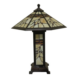 Tan Slag Arts & Crafts Stained Glass Base and Shade Table Lamp For Sale