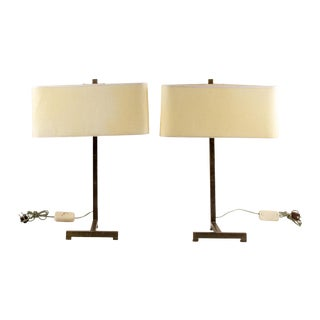 Pair of Mid Century Metal Table Lamps For Sale