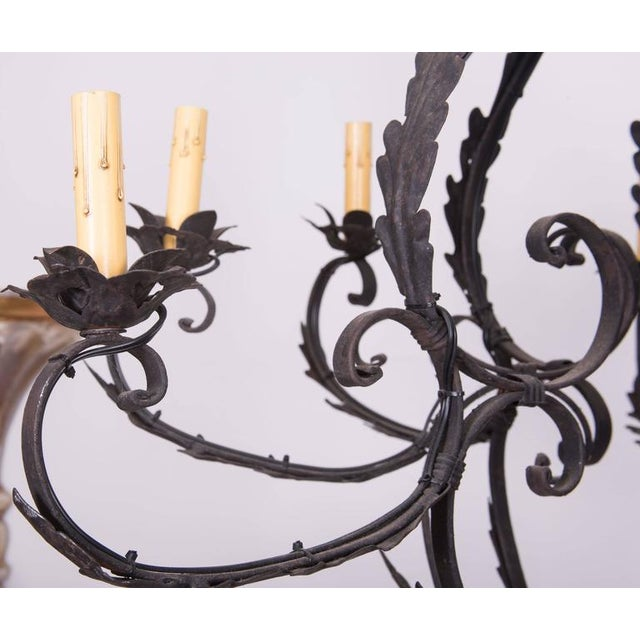 Modern Wrought Iron Cage-Form Eight-Light Chandelier For Sale - Image 3 of 4