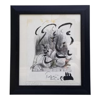 1970s Vintage Charcoal and Acrylic Painting by Piter Keil For Sale