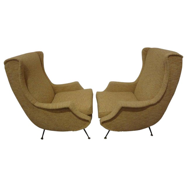 1960s Vintage Minotti Style Italian Modern Lounge Chairs- A Pair For Sale