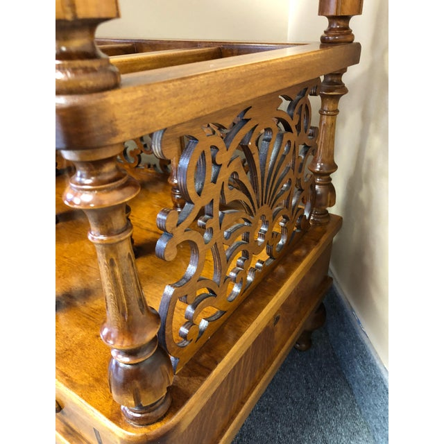 1990s Mobili Burl Canterbury and Console With Carved Fretwork For Sale - Image 5 of 12
