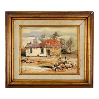 Rustic Adobe Farmhouse Painting For Sale