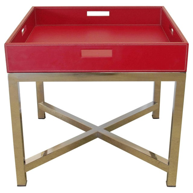 Animal Skin Red Leather and Stainless Steel Tray Table by Fabio Ltd For Sale - Image 7 of 7