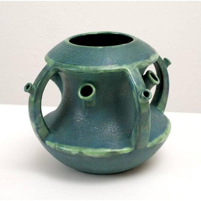 High End Paul Dachsel Ceramic Green Tulip Vase Austria 1904 Decaso