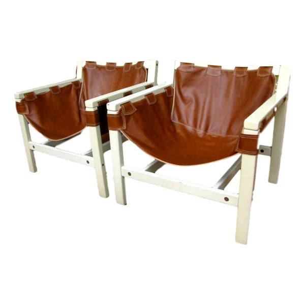 Wood 1970s Vintage Italian Safari Brown Leather and White Lacquered Chairs- a Pair For Sale - Image 7 of 7
