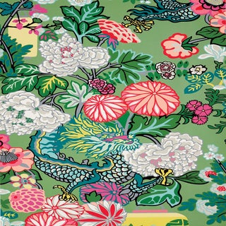 Sample - Schumacher Chiang Mai Dragon Wallpaper in Jade For Sale
