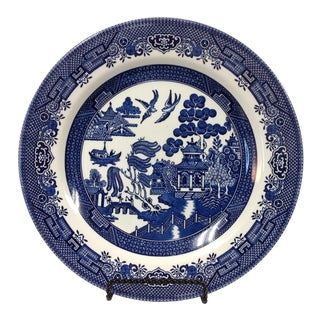 Churchill Blue Willow Plate With Stand For Sale