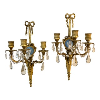 Bronze and Wedgwood Three Arm Sconces - a Pair For Sale
