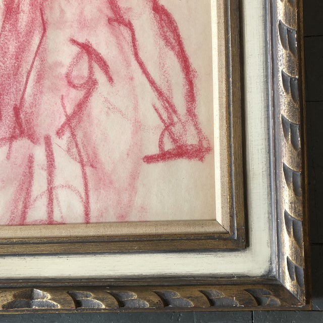 Figurative Original Vintage Abstract Pink Pastel Figure Study Drawing Ornate Vintage Frame 1950's For Sale - Image 3 of 5