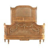 Image of French Louis XVI Style Carved Walnut and Cane Bed For Sale