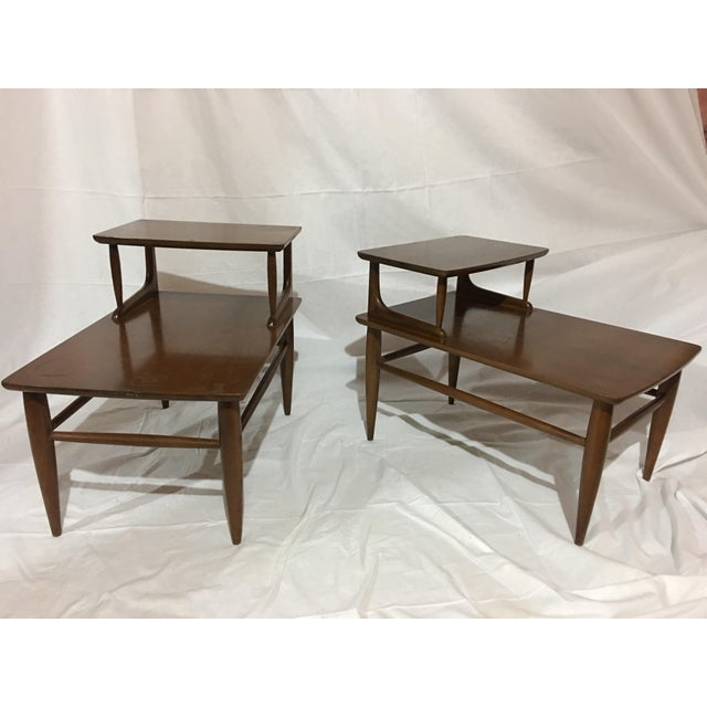 Attention lovers of Mid Century Danish Furniture!!! Offering a great Pair of Mid-Century Danish Modern Two-Tiered Walnut...