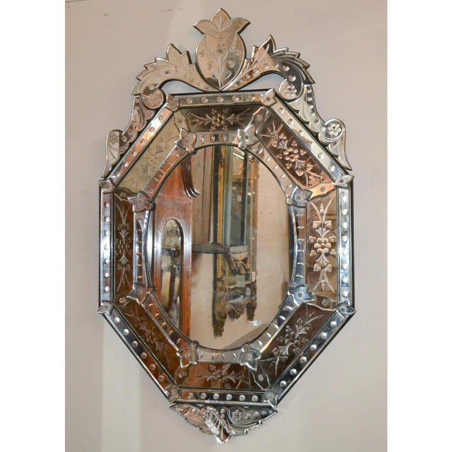 Early 20th Century Venetian Etched Cushion Mirror For Sale - Image 4 of 6