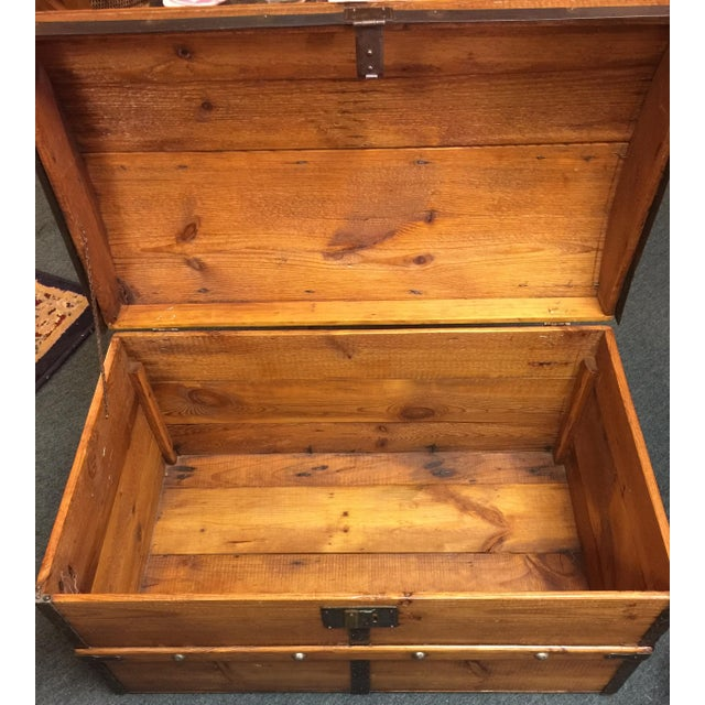 Antique Camelback Wooden Trunk - Image 6 of 6