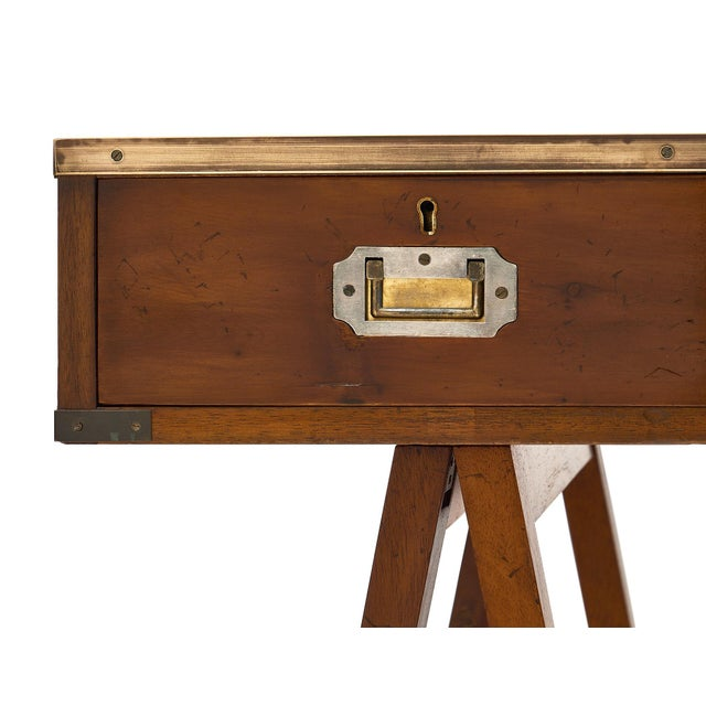 Campaign Campaign Style Vintage Writing Desk For Sale - Image 3 of 10