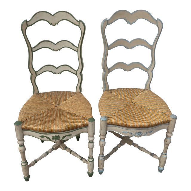 French Ladderback Chairs - A Pair For Sale