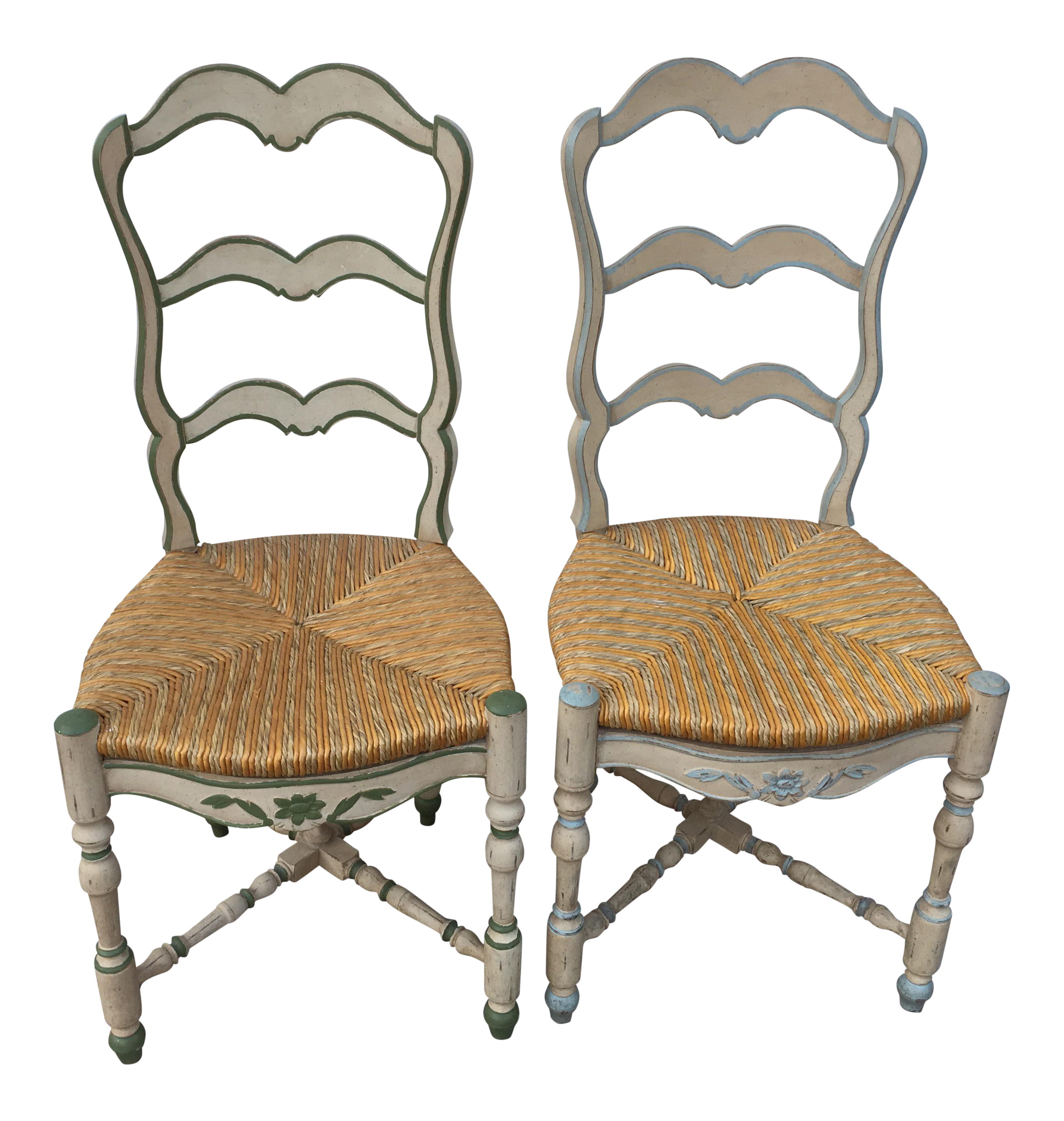 French Ladderback Chairs   A Pair For Sale