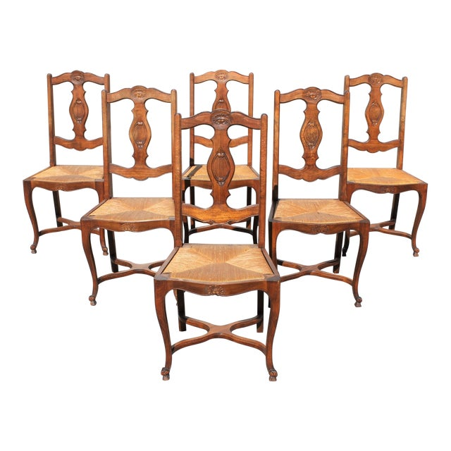 Early 20th C. Vintage French Country Rush Seat Walnut Dining Chairs- Set of 6 For Sale