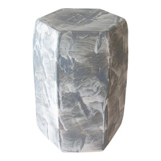 Paul Schneider Ceramic Hexagonal Stool in Drip Brushed Grey Glaze For Sale