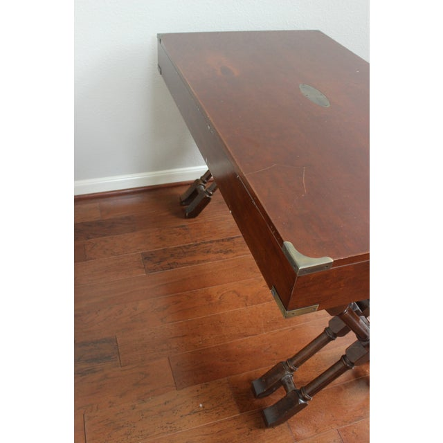 Campaign Style Double X Base Writing Desk - Image 11 of 11