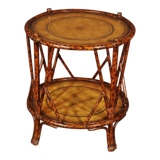 Maitland Smith Leather Top Bamboo Tabouret Stand For Sale