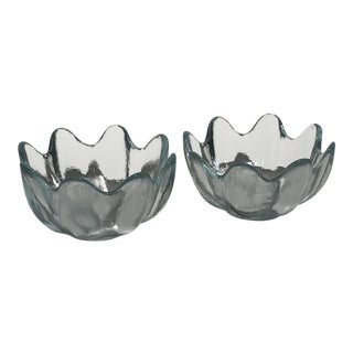Blenko Crystal Clear American Art Glass Lotus Bowls Candy Dish - a Pair For Sale