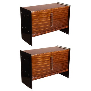 French Macassar Ebony and Black Plexi Cabinets - a Pair For Sale