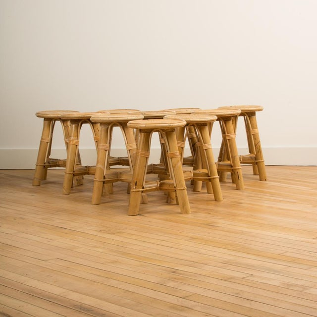 Modern Bamboo and Rattan Stool For Sale - Image 4 of 10
