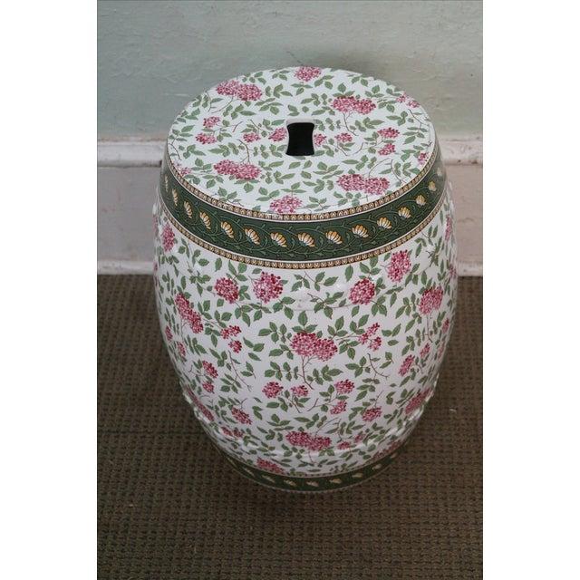 Vintage Floral Pattern Pottery Garden Seat - Image 5 of 10