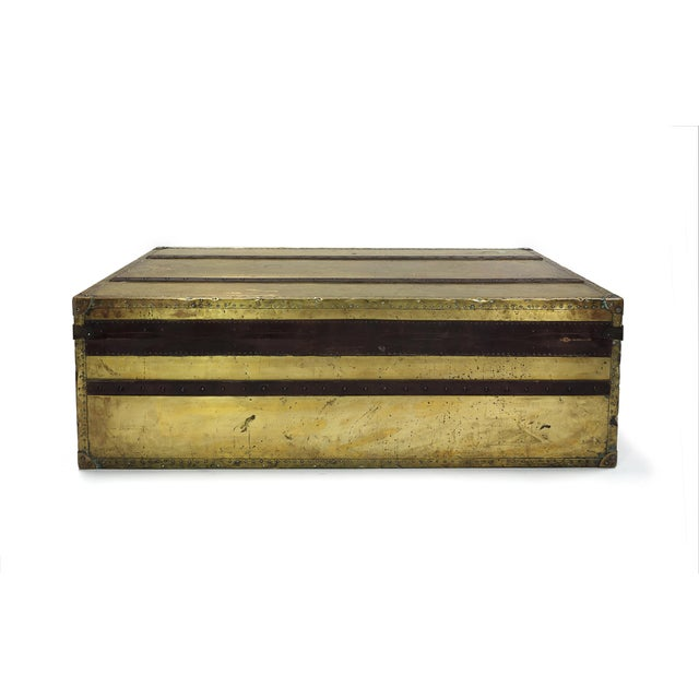 Brass and Leather Trunk Coffee Table - Image 3 of 3