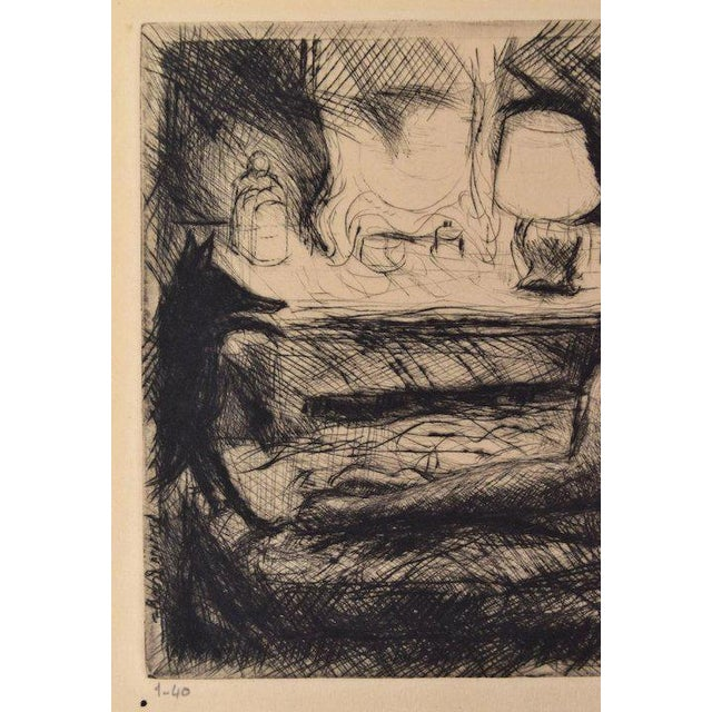 Art Deco Early 20th Century Reclining Nude with Dog at Foot of Bed Etching Signed Henri Farge For Sale - Image 3 of 5