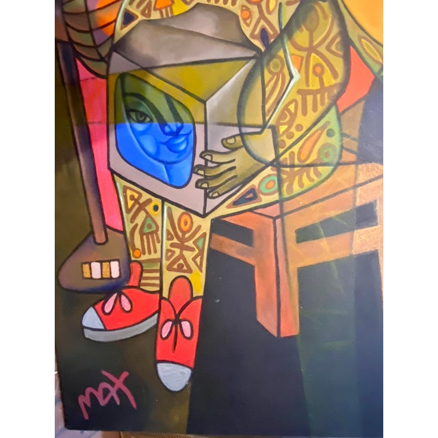 Modern Late 20th Century Contemporary Figurative Abstract Oil Painting For Sale - Image 3 of 8