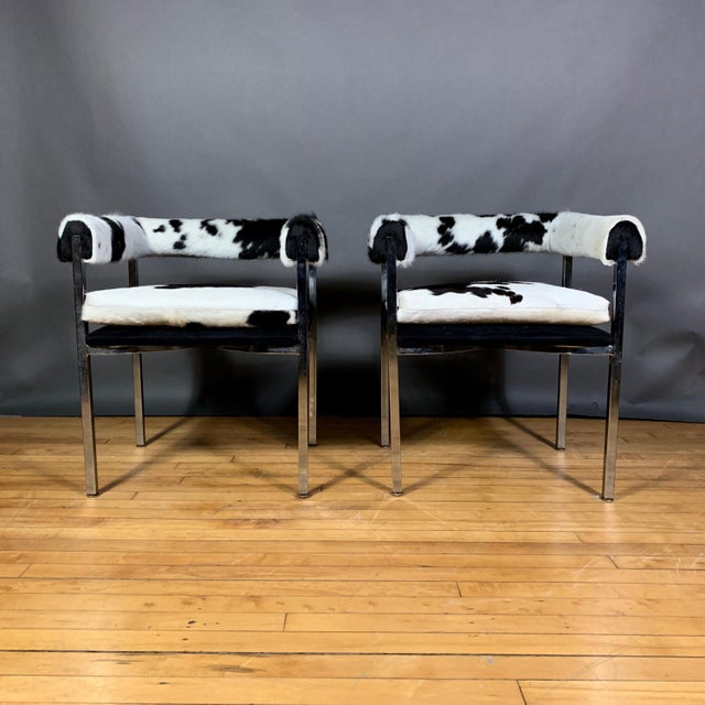 A chic retelling of 1960s American Modern chrome armchair - originally in black vinyl with a tight roll-back and...