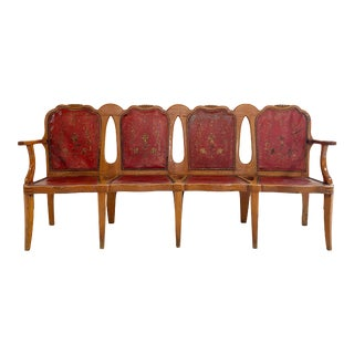Vintage English Pine and Embossed Leather Bench For Sale