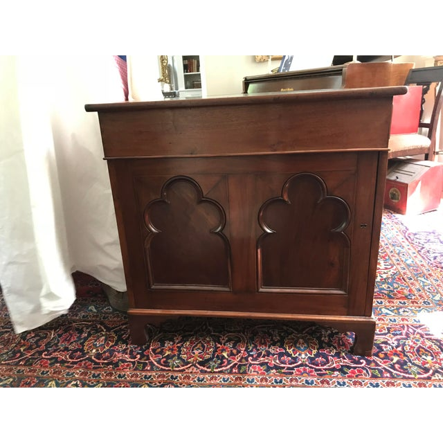 Gothic Antique Gothic Revival Oak Leather Top Partner's Desk For Sale - Image 3 of 12
