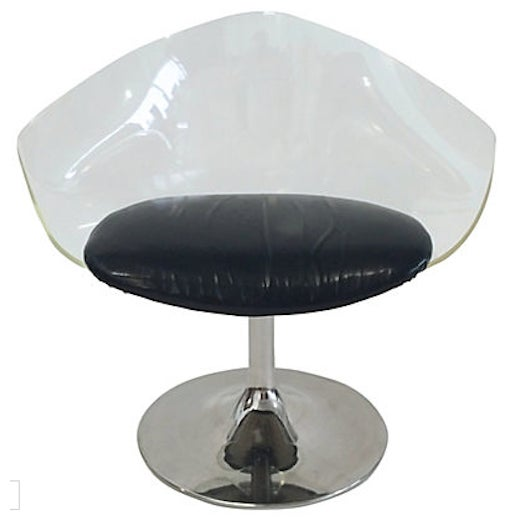 Mid-Century Lucite & Black Vinyl Chair For Sale