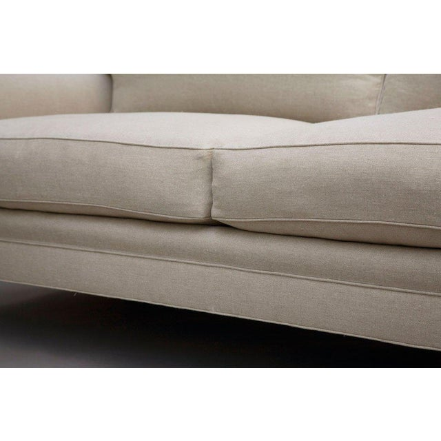 "Edwardian ""Elton"" by Lee Stanton Upholstered Sofa in Belgium Linen or Custom Fabric For Sale - Image 3 of 11"