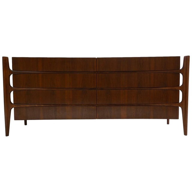 William Hinn Scandinavian Mid-Century Modern Stilted Curved Chest or Dresser For Sale - Image 13 of 13