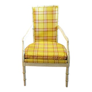 1960s Cottage Yellow Plaid Armchair For Sale