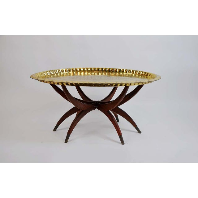 Boho Oval Brass Tray Coffee Table. Here is a Vintage Moroccan Brass Tray Table with Folding Spider leg in great condition....