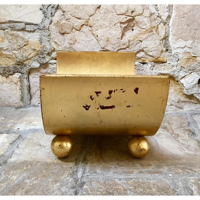 Italian Mid Century Gold Wood Book Holder For Sale - Image 4 of 7