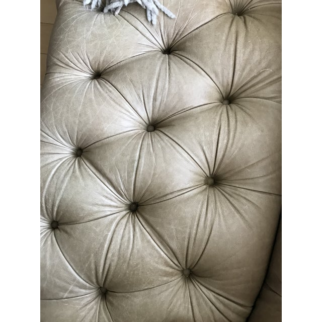 Taupe Tufted Distressed Loveseat For Sale - Image 9 of 9