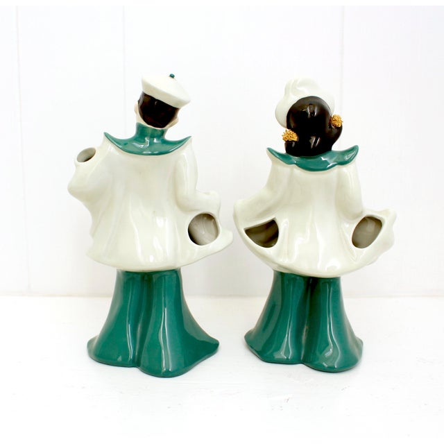 Vintage Florence Ceramics Asian and & Woman Figurines - a Pair For Sale - Image 4 of 8